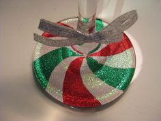 Glittery Peppermint Swirl Wine / Martini Glass. $10.00, via Etsy.