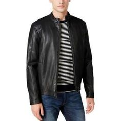 Calvin Klein Men's Faux-leather Moto Jacket In True Grey Riding Jacket, Moto Jacket, Leather Jacket, Croft And Barrow, Calvin Klein Men, Jackets Online, Casual Looks, Mens Fashion, Stylish