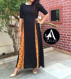 Black kurta with yellow plazo stylish look. Pakistani Dresses, Indian Dresses, Indian Outfits, Kurta Patterns, Dress Patterns, Salwar Designs, Blouse Designs, Ethnic Fashion, Indian Fashion