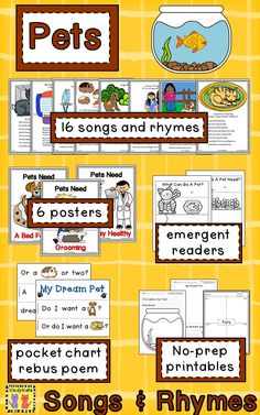 Your crew will have a dog-gone good time learning about various pets and their needs with these pet-themed songs, poems, and fingerplays! TpT$