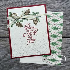 Peace this Christmas Stamp set has a lovely script font for Christmas cards! ~ Cindy Schuster