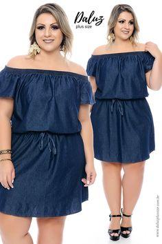 Virginia Olliveira: 10 Plus Size Jeans Dress Models - Looks Plus Size, Curvy Plus Size, Plus Size Jeans, Plus Size Women, Curvy Fashion, Plus Size Fashion, Girl Fashion, Plus Size Dresses, Plus Size Outfits