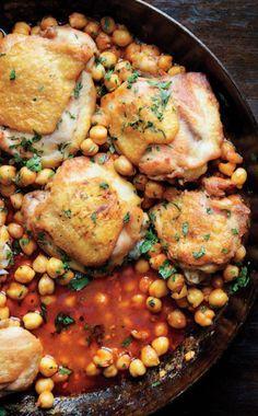 Pan-Roasted Chicken with Harissa Chickpeas (via http://www.bonappetit.com/)