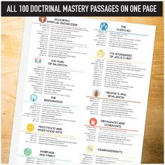 Doctrinal Mastery Seminary Helps - all 100 doctrinal mastery passages on one sheet.
