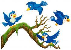 Four blue birds flying around the branch | Premium Vector #Freepik #vector #tree #wood #nature #blue Cartoon Birds, Cute Cartoon, Tropical Birds, Colorful Birds, International Day Of Peace, Black And White Birds, Dancing Drawings, Bird Logos, Bird Feathers