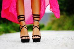 Lace up stilettos.