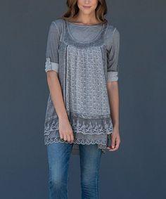 Look at this #zulilyfind! Gray Layered Tunic #zulilyfinds