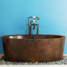 Copper bathtubs are coveted for their beautiful finish.