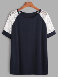 Shop Navy Contrast Lace Raglan Sleeve T-shirt online. SheIn offers Navy Contrast… Shop Navy Contrast Lace Raglan Sleeve T-shirt online. SheIn offers Navy Contrast Lace Raglan Sleeve T-shirt & more to fit your fashionable needs. Look Fashion, Fashion Clothes, Girl Fashion, Fashion Outfits, Fashion Tips, Fashion Black, Fashion Ideas, Sewing Blouses, Casual Outfits