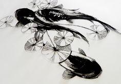 hand cut paper artwork 【carps in the pond】 by Sayaka Imai http://instagram.com/ii_mmmm www.facebook.com/cuttingpaperworks #handcutpaper #cutpaper #cuttingpaper #papercut #papierdécoupé #scherenschnitte #paperart #art #design #paper #olfa #鯉 #koi #錦鯉 #睡蓮 #切り絵 #切り紙 #剪紙