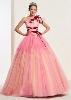 One Shoulder Floral Ball Gown Flowers Quinceanera Dress 2019 Ball Gown Dresses, Dress Up, Prom Dresses, Formal Dresses, Formal Wear, Floor Length Dresses, International Fashion, Quinceanera Dresses, Special Occasion Dresses
