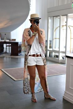 A kimono ups the style of a plain white tee and shorts outfit., Beach Outfits, A kimono ups the style of a plain white tee and shorts outfit. Short Outfits, Boho Outfits, Fashion Outfits, Womens Fashion, Beach Outfits, Summer Vacation Outfits, Spring Outfits, Vacation Wear, Summer Wear