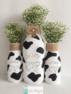 Cow Milk Bottles Kitchen Decor Farm Theme Party by BUtifulDesigns