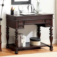 @Overstock - Furniture of America Litchum Multi-storage Pull-out Tray Secretary Desk
