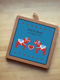 Custom Made Dala Horse Printed Tile Trivet