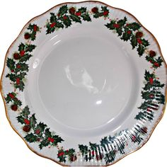 Vintage Rosina China Queen's Yuletide Plate Holly Berries Pinecones