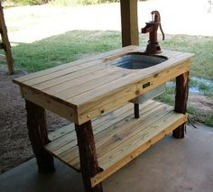 Outdoor kitchen table with sink fed by a garden hose. Add a propane crab pot bu. Outdoor kitchen table with sink fed by a garden hose. Add a propane crab pot burner and its an outdoor canning area! Outdoor Projects, Garden Projects, Home Projects, Pallet Projects, Outdoor Tables, Indoor Outdoor, Outdoor Decor, Wood Tables, Outdoor Stuff