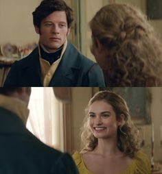 Lily James as Natasha Rostov and James Norton as Andrei Bolkonsky in War & Peace (2016), both in yellow.
