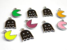 Lot of 10 Pacman Game Cartoon Pac Man Pendants Charms