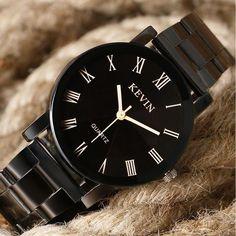 Men's Sports Casual Black Creative Stainless Steel Quartz Wristwatch Stylish Watches, Luxury Watches, Cool Watches, Black Watches, Wrist Watches, Women's Watches, Watches Online, Male Watches, Cheap Watches For Men