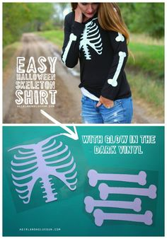 Skeleton shirt with glow in the dark vinyl (and GIVEAWAY!) A girl and a glue gun - Dark Shirt - Ideas of Dark Shirt - easy halloween skeleton shirt with glow in the dark vinyl from expressions vinyl Halloween Vinyl, Halloween Projects, Easy Halloween, Diy Halloween Shirts, Halloween Stuff, Vintage Halloween, Halloween Costumes, Halloween Makeup, Halloween Camping