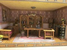 Dollhouse Quarter Scale Mission Style roombox living room