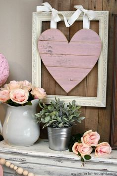 Pretty in Pink and Gray: Valentine's Day Mantel.  Great ideas for Valentine's Day decorations | http://awonderfulthought.com