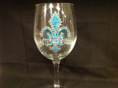 custom wineglass or beer mug embellished with Fleur de Lis in Swarovski crystals