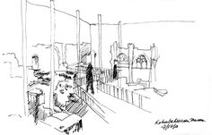 Interior view of the Kolumba Museum by Peter Zumthor in Köln, Deutschland (Cologne, Germany). Peter Zumthor, Kolumba Museum, Detailed Drawings, Architecture Drawings, Drawing Sketches, Sketching, Art Museum, Diagram, Image