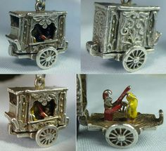 Vintage sterling silver Gypsy caravan charm opens to enameled Punch and Judy