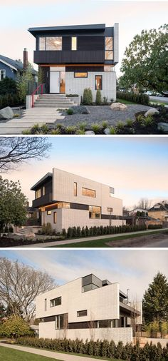 14 Modern Houses Made Of Brick | White bricks cover much of the exterior of this home and contrast the dark cedar siding and metal trim also included in the exterior design.