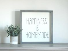 """Framed Farmhouse Wall Sign - """"Happiness is Homemade"""" - Jarful House Rustic Walls, Rustic Wall Decor, Diy Wall Art, Wall Art Decor, Farmhouse Signs, Rustic Wedding, Wedding Decor, Home Decor Bedroom, Wall Signs"""