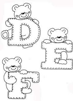 Fonts Alphabet Discover - - alphaber and teddy coloring Embroidery Alphabet, Baby Embroidery, Felt Patterns, Applique Patterns, Colouring Pages, Coloring Books, Alphabet Templates, Alphabet Coloring, Creative Lettering