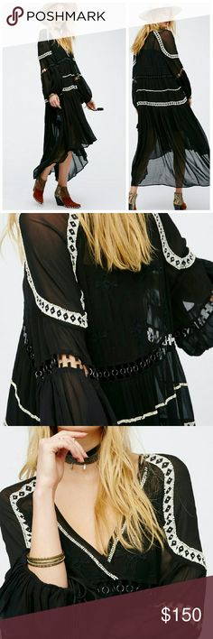 "(Free People) ""Dark Horse Maxi Dress"" In an effortless and slouchy fit this sheer boho maxi dress features beautiful embroidery and bead detailing and cutout trim with circular metal accents around the waist and sleeves.  Surplice V-neckline and wide long sleeves with adjustable ties and tassel ends.  Removable mini slip with adjustable straps.  100% Rayon Hand Wash Cold Import  Measurements for size Small  Bust : 43.5"" = 110.49 cm Waist: 44"" = 111.76 cm Length: 43"" = 109.22 cm Sleeve…"