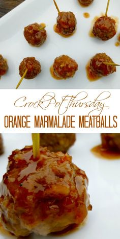 These Crockpot Orange Marmalade Meatballs are the perfect appetizer for your party or potluck, and they pair well with rice and broccoli for a quick and easy dinner idea!