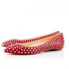 Christian Louboutin Pigalle silver spikes red leather ballerina flat shoes
