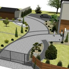 Front House Landscaping, Front Garden Landscape, Garden Paving, Driveway Landscaping, House Landscape, Landscape Plans, Landscape Design, Walkway, Driveway Design