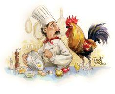 chef art by David Leonard Chef Kitchen Decor, Kitchen Art, Food Illustrations, Illustration Art, Chef Pictures, Foto Transfer, Chicken Art, Le Chef, Decoupage Paper