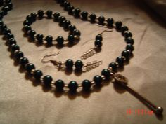 Teal and Crystal necklace bracelet earrings  by LadyBluesBaubles, $45.50