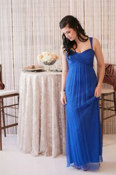 Amsale empire waist chiffon in cobalt blue - Design by Utah Events by Design - Photo by Jacque Lynn Photography