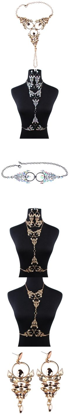 MYDANER 2017 Fashion Sexy Necklace Charm Exaggerated Night Club Party Long Prethoracic Statement Women's Necklace Body Jewelry