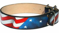 Waving flag of America! Hand painted leather dog collar - American Pride*