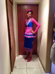Sepedi traditional outfit Sepedi Traditional Dresses, South African Traditional Dresses, Traditional Fashion, African Attire, African Wear, African Dress, African Style, African Beauty, African Print Fashion