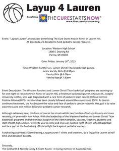 """Layup 4 Lauren"" Western High School, Lauren Hill, Beacon Of Hope, Pediatrics, Fundraising, The Cure, Fundraisers"