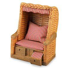 Reutter Porzellan Strandkorb Roofed Wicker Beach Chair 1:12 Puppenstube 1.809/0