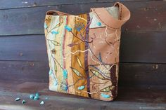 Какао и бирюза. Сумка летняя / пляжная текстильная с вышивкой – купить в интернет-магазине на Ярмарке Мастеров с доставкой - FFMEBRU