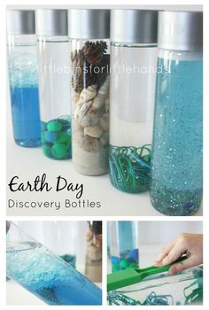 Gorgeous sensory bottles to make! One for every aspect of the earth! A great activity for Earth Day!