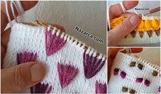 TUNUS ŞİŞİNİ KAPAN GELSİN:İLMEK ALMALI TUNUS | Nazarca.com Baby Knitting Patterns, Crochet Blanket Patterns, Crochet Cushion Cover, Crochet Cushions, Tunisian Crochet Stitches, Knitting Stitches, Finger Crochet, Crochet Designs, Yarn Crafts