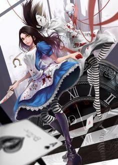 Alice Madness Returns' Alice Liddell and Hysteria Alice fan art Dark Alice In Wonderland, Alice In Wonderland Artwork, Adventures In Wonderland, Alice Liddell, Alice Madness Returns, Chesire Cat, Art Manga, Arte Horror, Tim Burton