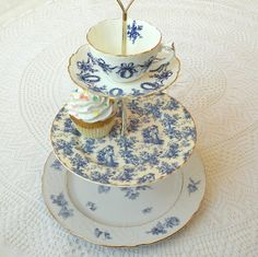 Blue & white vintage china 3 Tier tea & cupcake stand with chintz / toile & navy Christmas wreaths by HighTeaForAlice